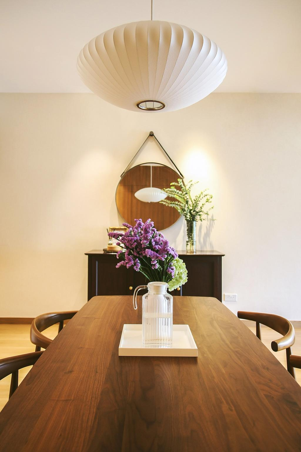 Modern, Condo, Dining Room, Tiara, Architect, JOW Architects, Lantern Lamp, Wooden Table, Wood, Oriental, Flowers, Art, Blossom, Flora, Flower, Flower Arrangement, Ikebana, Jar, Ornament, Plant, Pottery, Vase, Potted Plant, Indoors, Interior Design, Room, Dining Table, Furniture, Table, Plywood