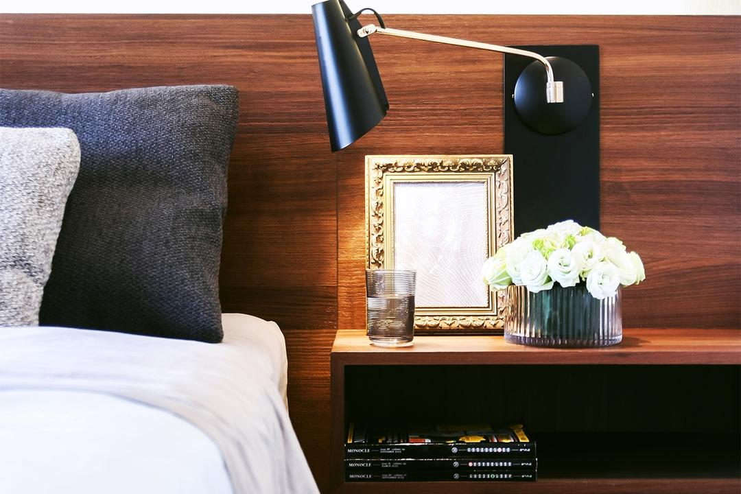 Tiara, JOW Architects, Modern, Bedroom, Condo, Bedside Table, Bedside Lamp, Bed Side, Wooden Panel, Wooden Bedframe, Mirror