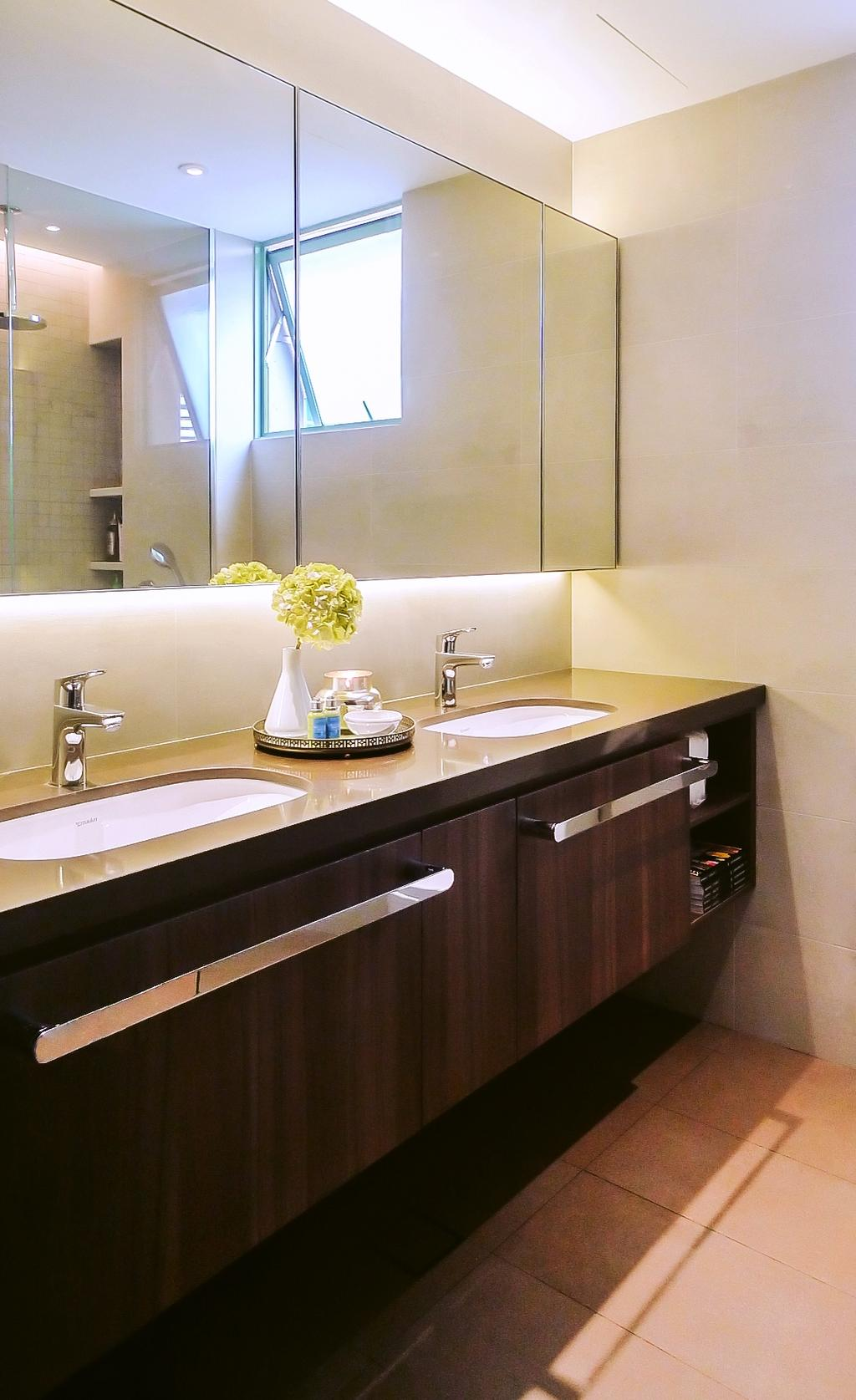 Modern, Condo, Bathroom, Tiara, Architect, JOW Architects, His And Hers Counter, Two Sinks, Vanity Counter, Mirror Cabinet, Towel Rack, Vanity Cabinet, Sink