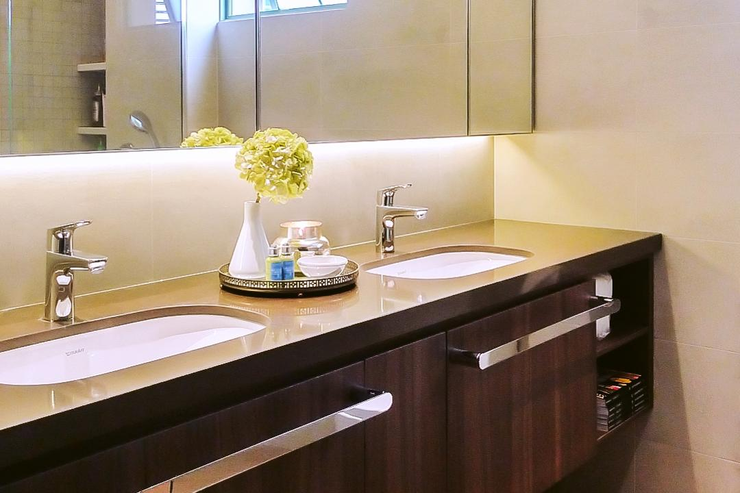 Tiara, JOW Architects, Modern, Bathroom, Condo, His And Hers Counter, Two Sinks, Vanity Counter, Mirror Cabinet, Towel Rack, Vanity Cabinet, Sink
