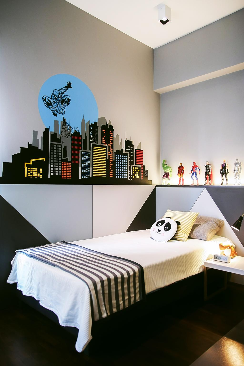 Modern, Condo, Bedroom, Tiara, Architect, JOW Architects, Wall Decal, Wall Sticker, Kids Room, Kids, Childrens, Soft Toys, Display Ledge, Wall Ledge, Bedside Table, Wall Mural, Monochrome, Toys Display, White Board, Indoors, Interior Design, Room, Bed, Furniture