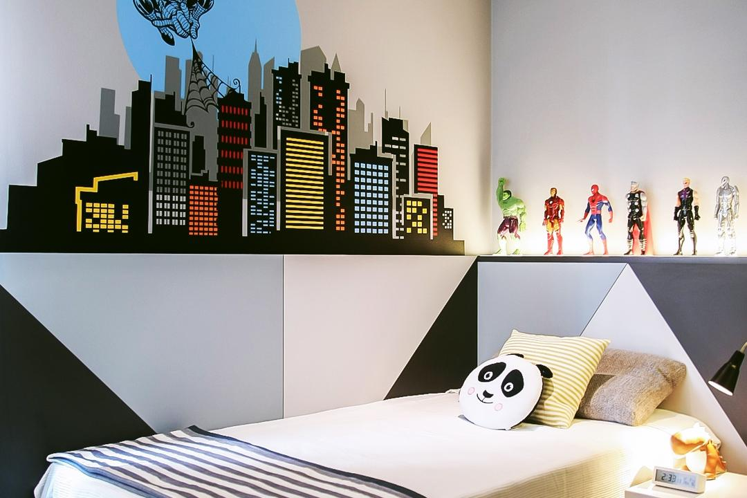 Tiara, JOW Architects, Modern, Bedroom, Condo, Wall Decal, Wall Sticker, Kids Room, Kids Room, Kids, Childrens, Soft Toys, Display Ledge, Wall Ledge, Bedside Table, Wall Mural, Monochrome, Toys Display, White Board, Indoors, Interior Design, Room, Bed, Furniture