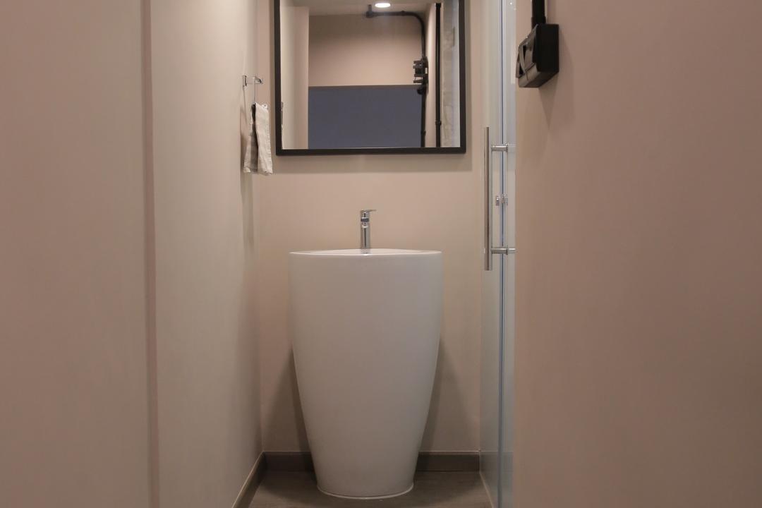 Clementi Avenue 6 (Block 206), Forefront Interior, Contemporary, Bathroom, HDB, Bathroom Vanity, Sink, Bathroom Sink, Mirror, Bathroom Mat, Pink, Coral, Peach, Indoors, Interior Design, Room
