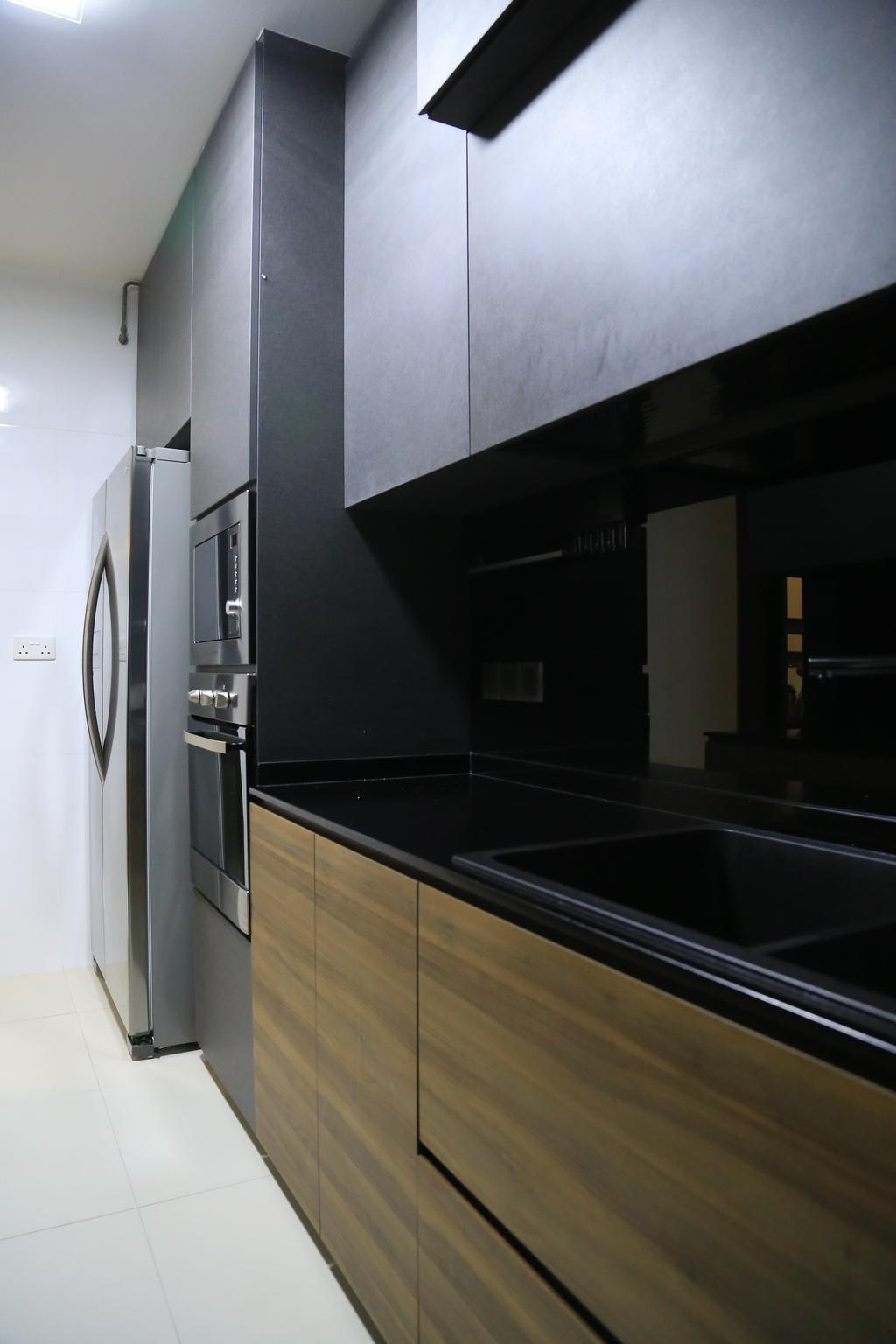 Transitional, HDB, Kitchen, Punggol Walk (Block 310B), Interior Designer, Forefront Interior, Refrigerator, Kitchen Cabinet, Cabinetry, Backsplash, Wood, Black Countertop