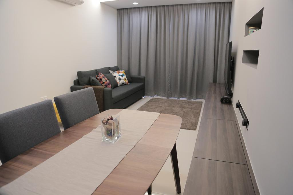 Transitional, HDB, Living Room, Punggol Walk (Block 310B), Interior Designer, Forefront Interior, Dining Table, Dining Chair, Curtains, Grey, Gray, Tv Cabinet, Wood, Dark Wood, Sofa, Cushion, Couch, Recessed Shelves, Carpet, Furniture, Building, Housing, Indoors