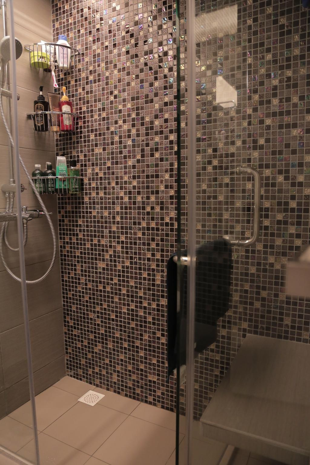 Transitional, HDB, Bathroom, Punggol Walk (Block 310B), Interior Designer, Forefront Interior, Shower Screen, Shower Area, Shower Head, Bathroom Rack, Tiles, Bathroom Tiles