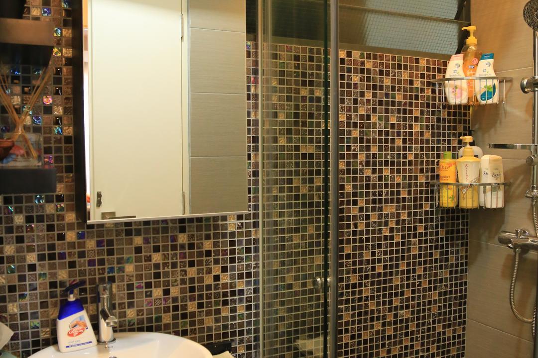 Punggol Walk (Block 310B), Forefront Interior, Transitional, Bathroom, HDB, Bathroom Vanity, Bathroom Sink, Sink, Shower Screen, Bathroom Rack, Shower Area, Bathroom Tiles, Tiles, Bottle, Shower