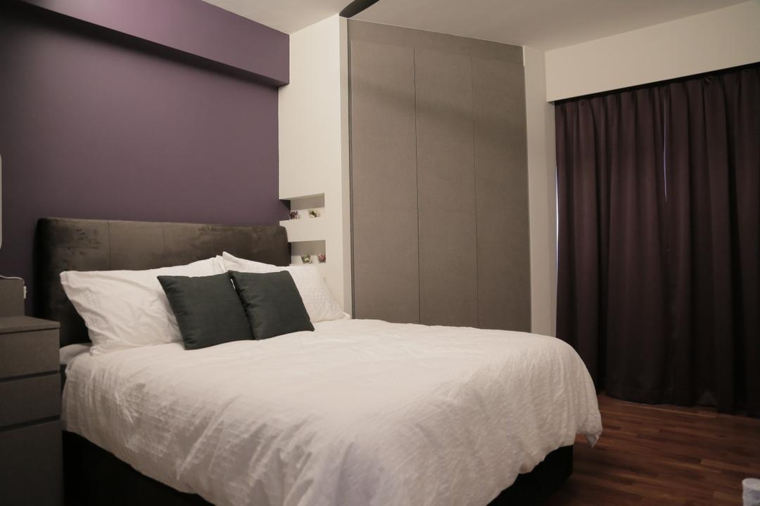 Punggol Walk (Block 310B), Forefront Interior, Transitional, Bedroom, HDB, Bed, Cushion, Simple, Headboard, Cabinet, Cabinetry, Curtains, Parquet, Purple, Indoors, Interior Design, Room, Furniture