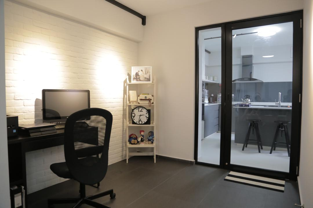 Tampines Street 45 (Block 491C), Forefront Interior, Minimalistic, Study, HDB, Study Table, Computer Desk, Office Chair, Rack, Standing Rack, Display, Brick Wall, White Brick Walls, Glass Door, Door, Chair, Furniture