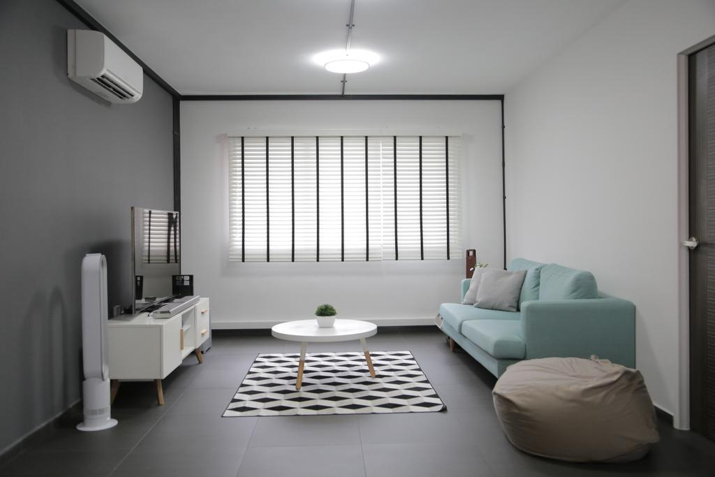 Minimalistic, HDB, Living Room, Tampines Street 45 (Block 491C), Interior Designer, Forefront Interior, Clean, Simple, Pastel, Pastel Colour, Couch, Sofa, Blue, Fabric Sofa, Beanbag, Patterns, Carpet, Coffee Table, Tv, Tv Cabinet, Aircon, Blinds, Venetian Blinds, Monochrome, Grey, Gray, Indoors, Room, Office