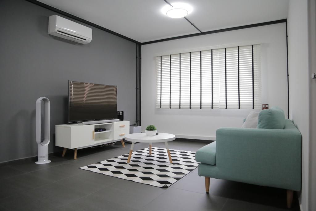 Minimalistic, HDB, Living Room, Tampines Street 45 (Block 491C), Interior Designer, Forefront Interior, Simple, Pastel, Blue, Couch, Sofa, Fabric Sofa, Tv, Tv Cabinet, Tv Console, Coffee Table, Patterns, Aircon, Blinds, Venetian Blinds, Carpet, Grey, Chair, Furniture, Lighting, Indoors, Room