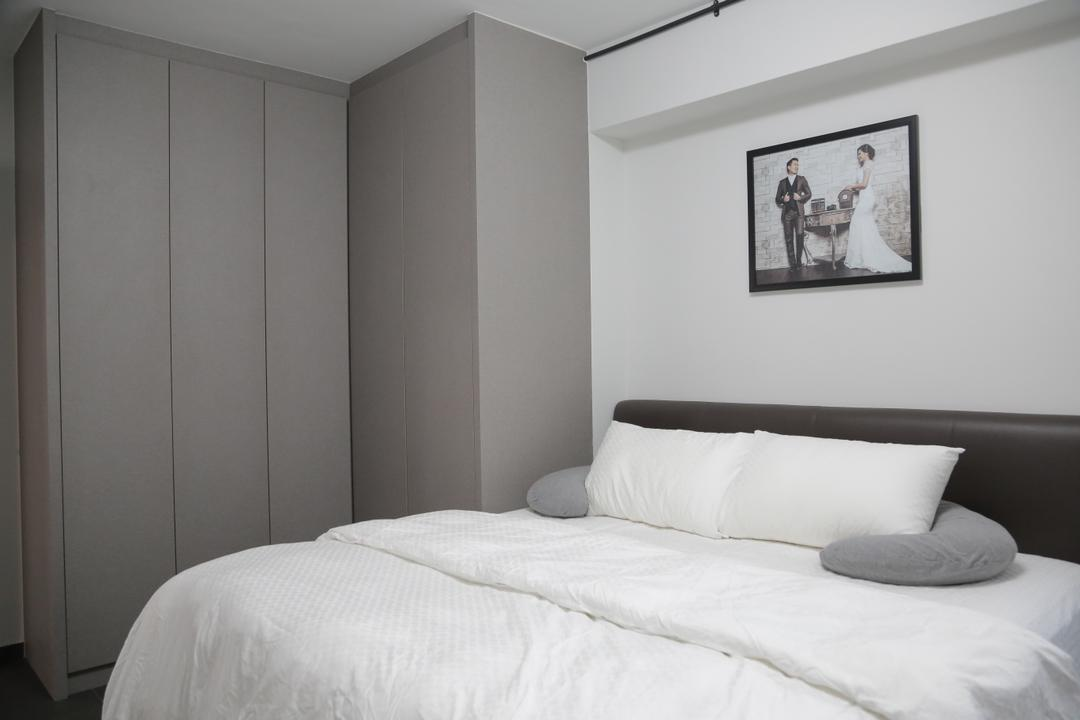 Tampines Street 45 (Block 491C), Forefront Interior, Minimalistic, Bedroom, HDB, Headboard, Wardrobe, Cabinetry, Photo Frame, Bed, White, White Bed, Clean, Simple, Furniture, Indoors, Interior Design, Room, Autograph, Handwriting, Signature, Text