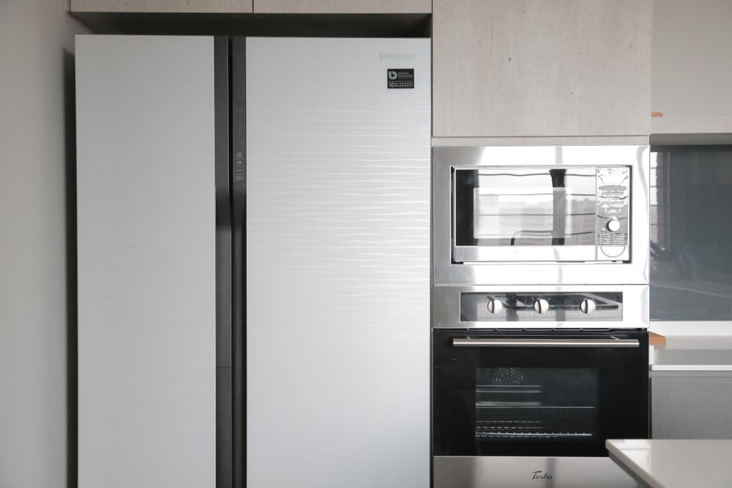 Minimalistic, HDB, Kitchen, Tampines Street 45 (Block 491C), Interior Designer, Forefront Interior, Refrigerator, Oven, Microwave, Simple, Appliance, Electrical Device, Door, Sliding Door