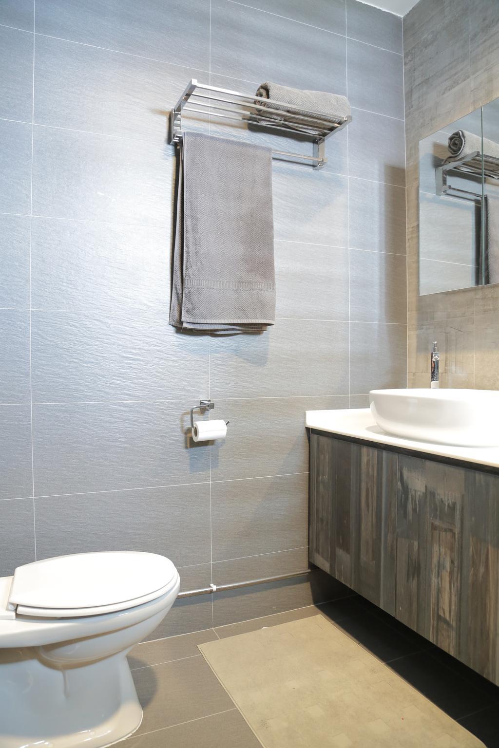 Contemporary, HDB, Bathroom, Clementi Avenue 6 (Block 206), Interior Designer, Forefront Interior, Towel Rack, Bathroom Vanity, Mirror, Bathroom Sink, Sink, Indoors, Interior Design, Room