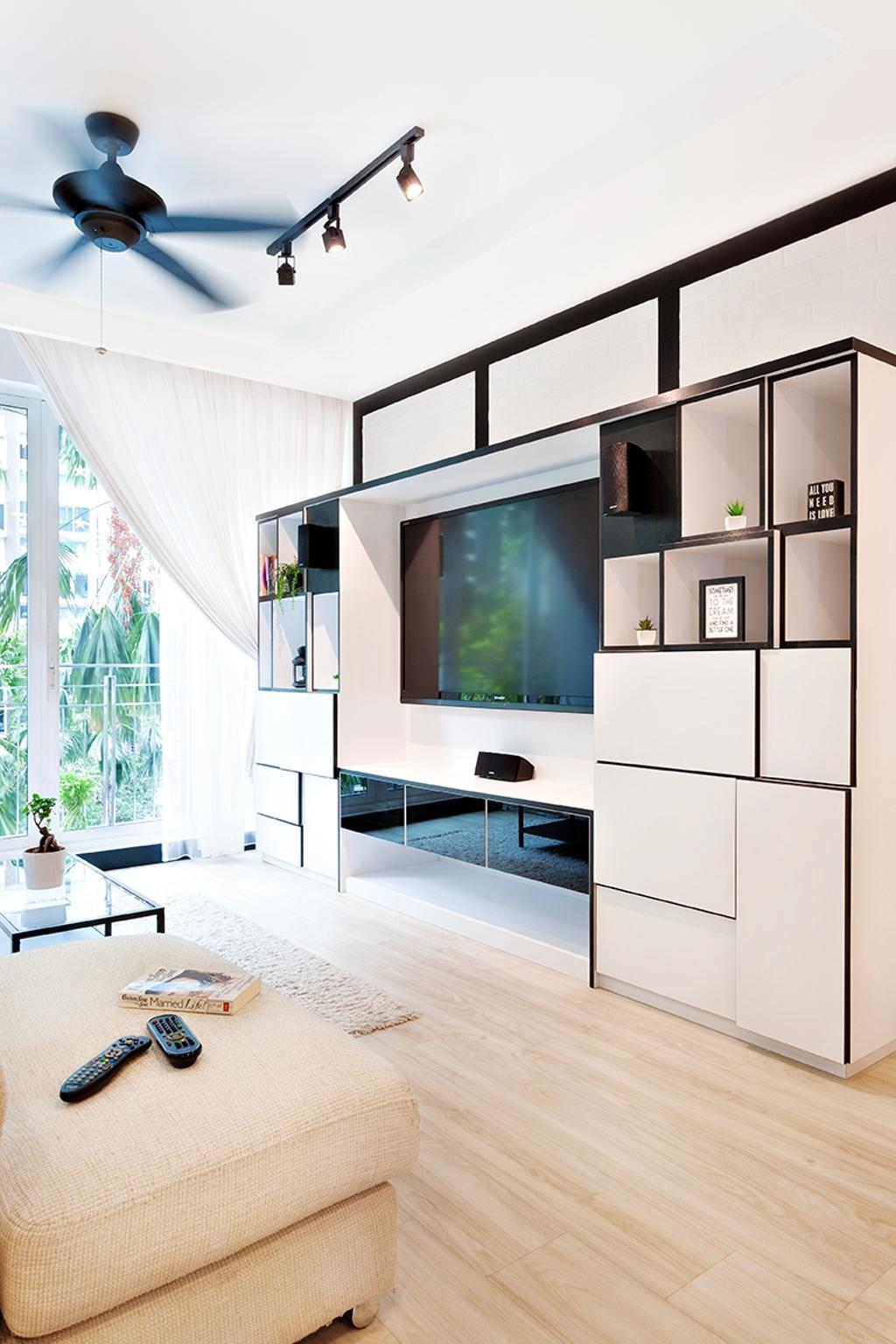 Contemporary, Condo, Living Room, The Esparis, Interior Designer, Icon Interior Design, Full Height Cabinet, Storage, Black And White, White And Black, Black Trimmings, Curtains, Light Wood, Oak, Wood Flooring, Cream, Neutrals, Fabric Sofa, Airy, Collage, Poster, Curtain, Home Decor, Shower Curtain, White Board
