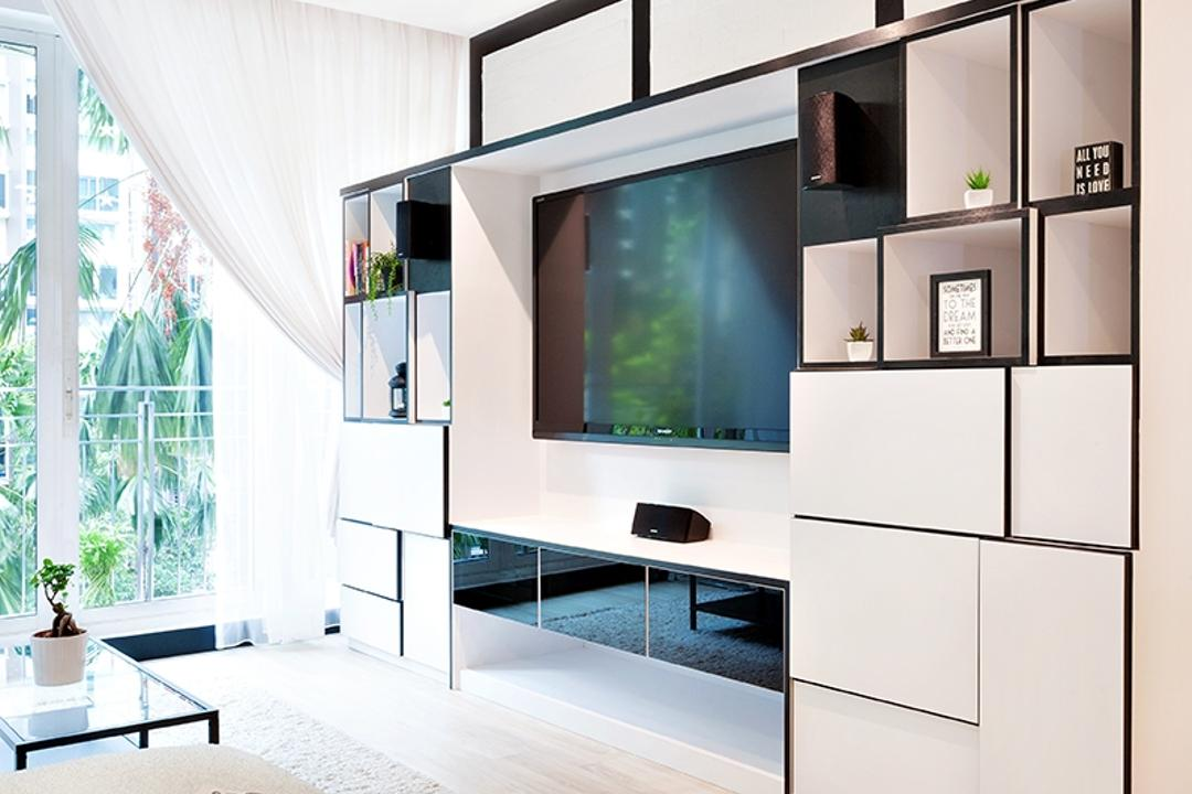 The Esparis, Icon Interior Design, Contemporary, Living Room, Condo, Full Height Cabinet, Storage, Black And White, White And Black, Black Trimmings, Curtains, Light Wood, Oak, Wood Flooring, Cream, Neutrals, Fabric Sofa, Airy, Collage, Poster, Curtain, Home Decor, Shower Curtain, White Board