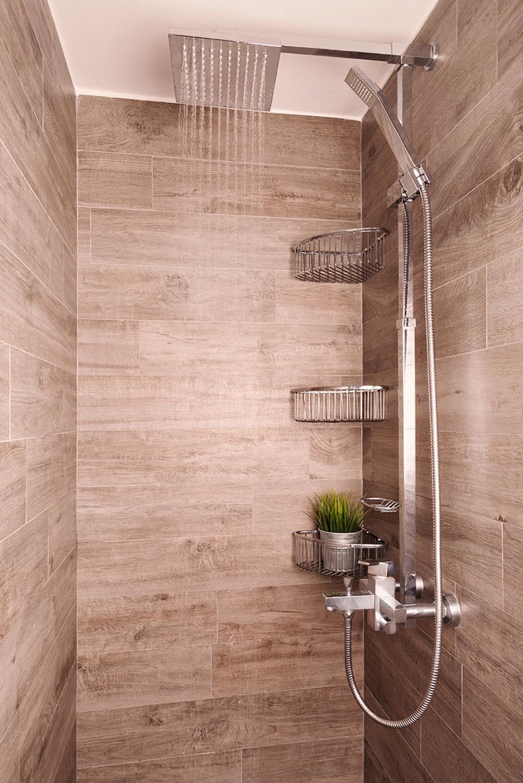 Contemporary, Condo, Bathroom, The Esparis, Interior Designer, Icon Interior Design, Tiles, Rainshower, Tile Grains, Flora, Jar, Plant, Potted Plant, Pottery, Vase