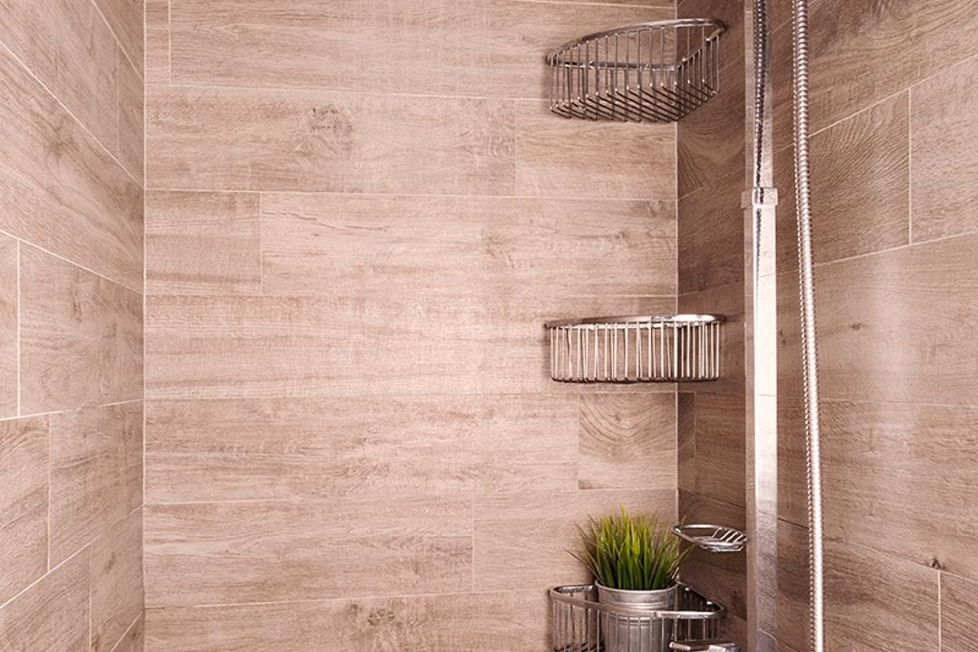 The Esparis, Icon Interior Design, Contemporary, Bathroom, Condo, Tiles, Rainshower, Tile Grains, Flora, Jar, Plant, Potted Plant, Pottery, Vase