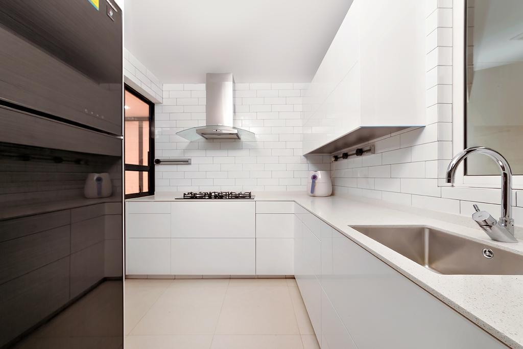 Contemporary, Condo, Kitchen, The Esparis, Interior Designer, Icon Interior Design, Subway Tiles, Tile Grout, Sink, Kitchen Sink, Spacious, L Shaped Layout, White, Clean, Simple, Indoors, Interior Design