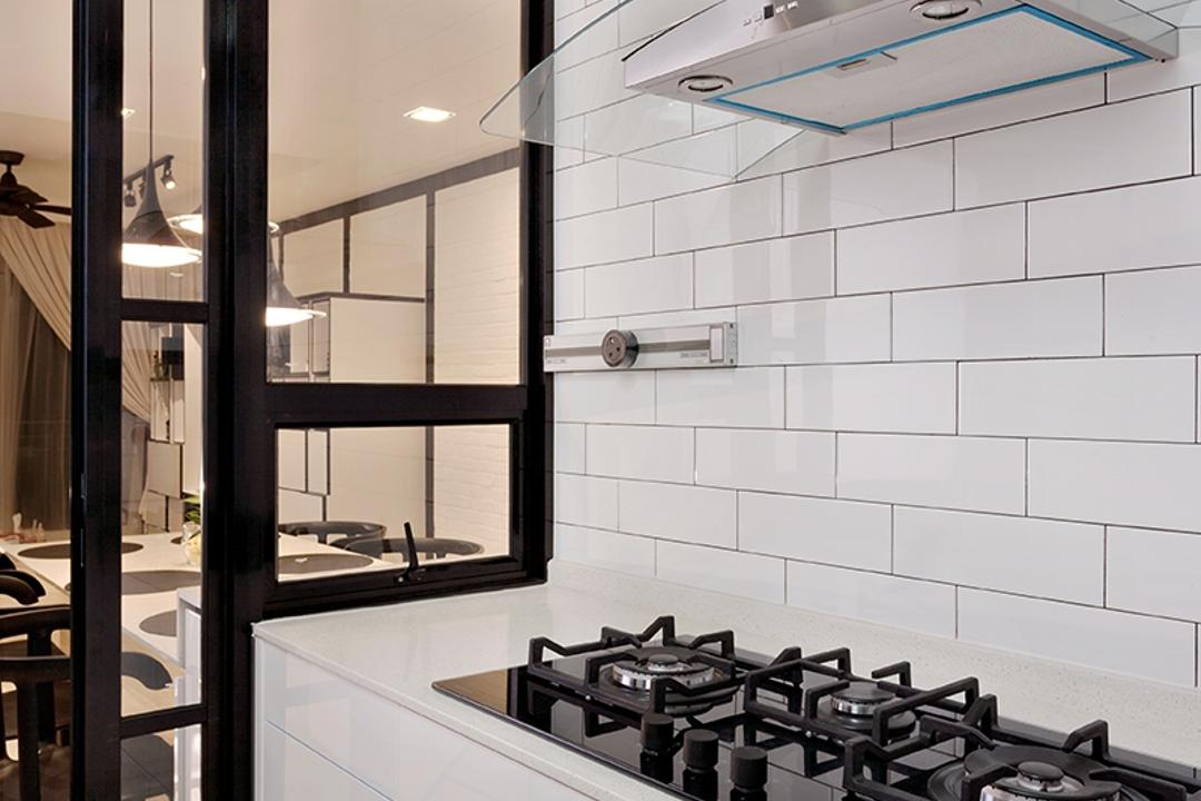 The Esparis, Icon Interior Design, Contemporary, Kitchen, Condo, Subway Tiles, Hood, Hob, Gas Stoe, Sliding Door, Countertop, White, Sleek, Clean, Easy To Maintain, Chair, Furniture