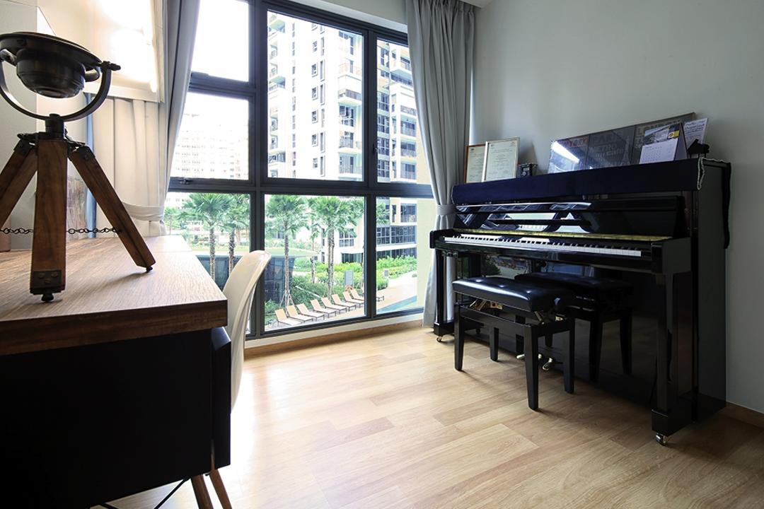 Prive, Icon Interior Design, Contemporary, Study, Condo, Piano, Music Room, Entertainment, Curtains, Flooring, Leisure Activities, Music, Musical Instrument, Grand Piano