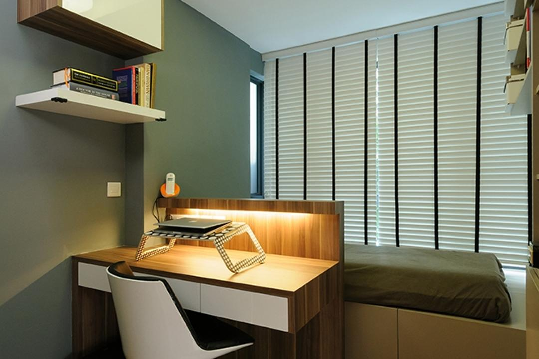 NV Residences, Icon Interior Design, Contemporary, Bedroom, Condo, Hanging Lights, Bed On Platform, Study Desk, Work Desk, Sink