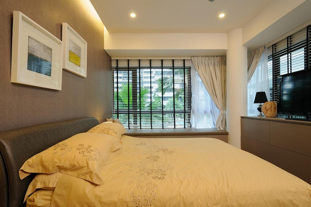 NV Residences, Icon Interior Design, Contemporary, Bedroom, Condo, Bay Window, Window Seat, Window Ledge, Padded Ledge, Curtains, Blinds, Bedframe, Gray Wall, Grey, Dark, Cosy, Tv On Ledge, Bed, Furniture, HDB, Building, Housing, Indoors, Reception, Interior Design, Room