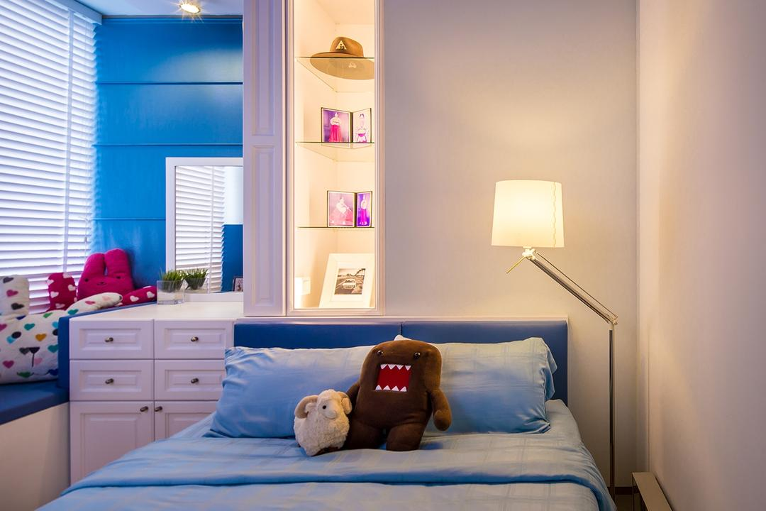 Sentosa Cove, Icon Interior Design, Vintage, Bedroom, Condo, Floor Lamp, Blue, Baby Blue, Window Ledge, Window Seat, Drawer Chest, Boys Room, Kids Room, Kids Room, Teddy Bear, Toy, Indoors, Interior Design, Room