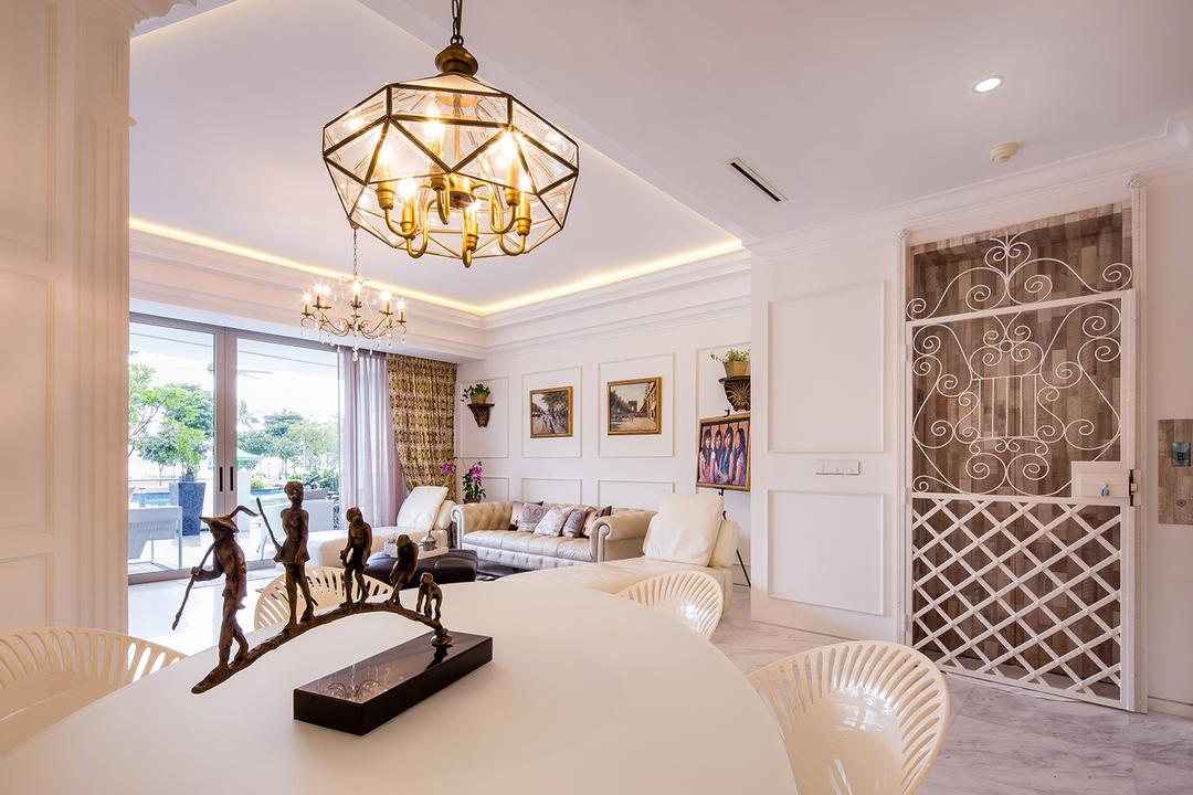 Sentosa Cove, Icon Interior Design, Vintage, Dining Room, Condo, Chandelier, Airy, Cream, French, Old English, Countryside, English, Neutrals, Window, Indoors, Interior Design, Room, Furniture