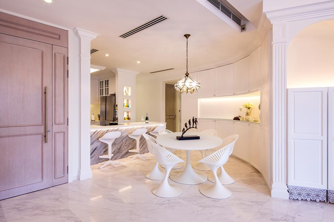 Sentosa Cove, Icon Interior Design, Vintage, Dining Room, Condo, Entrance, Main Door, Corridor, Foyer, Hallway, Walkway, Round Dining Table, Cream, Neutrals, Opulent, Luxe, Old English, Marble Flooring, Indoors, Interior Design, Dining Table, Furniture, Table