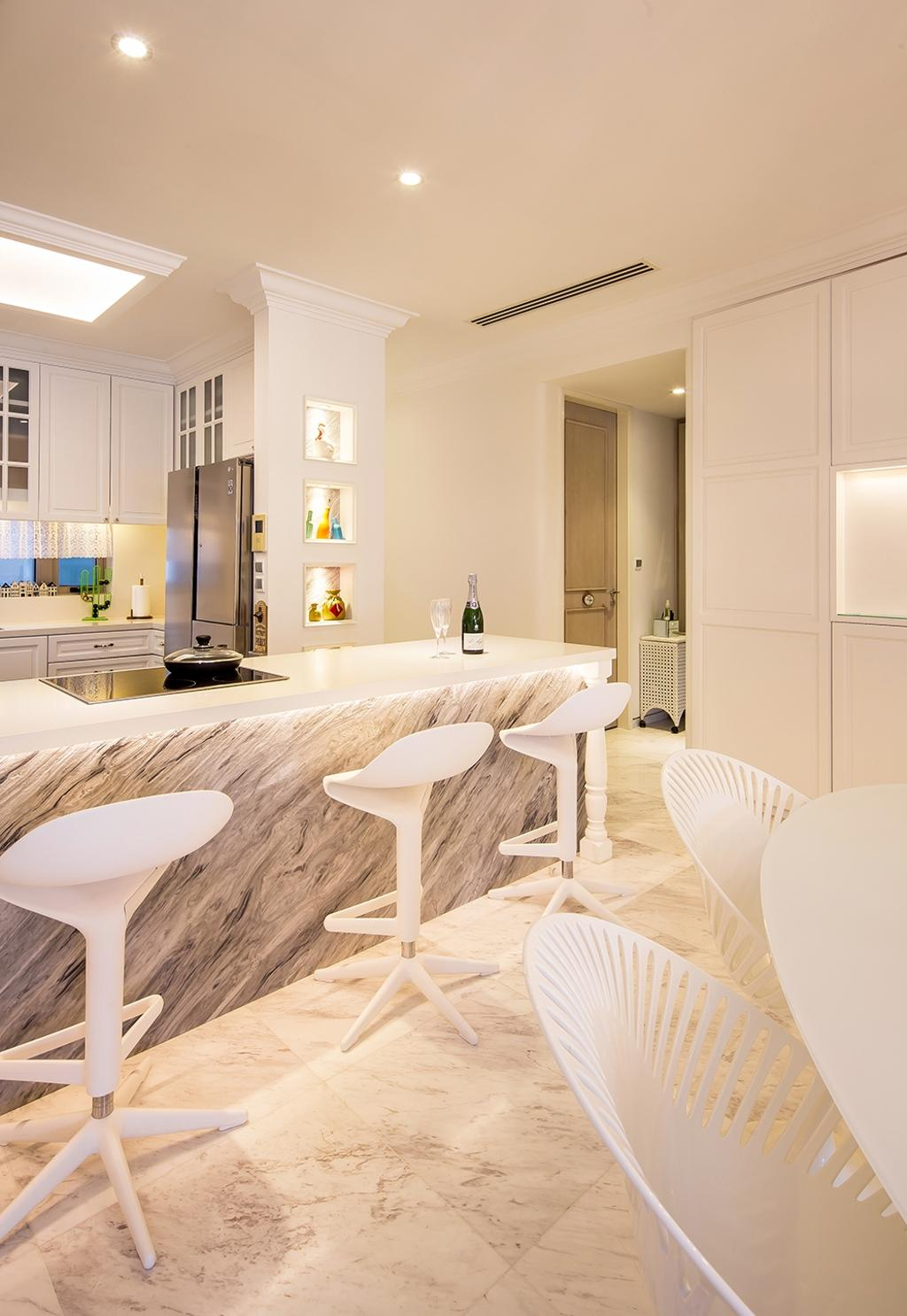 Vintage, Condo, Kitchen, Sentosa Cove, Interior Designer, Icon Interior Design, Marble Counter, Marble Flooring, Rich, Luxe, Elegant, Sophisticated, Bar Stools, White, Cream, Neutrals, Open Concept, Open Layout, Chair, Furniture, Dining Table, Table, Indoors, Interior Design
