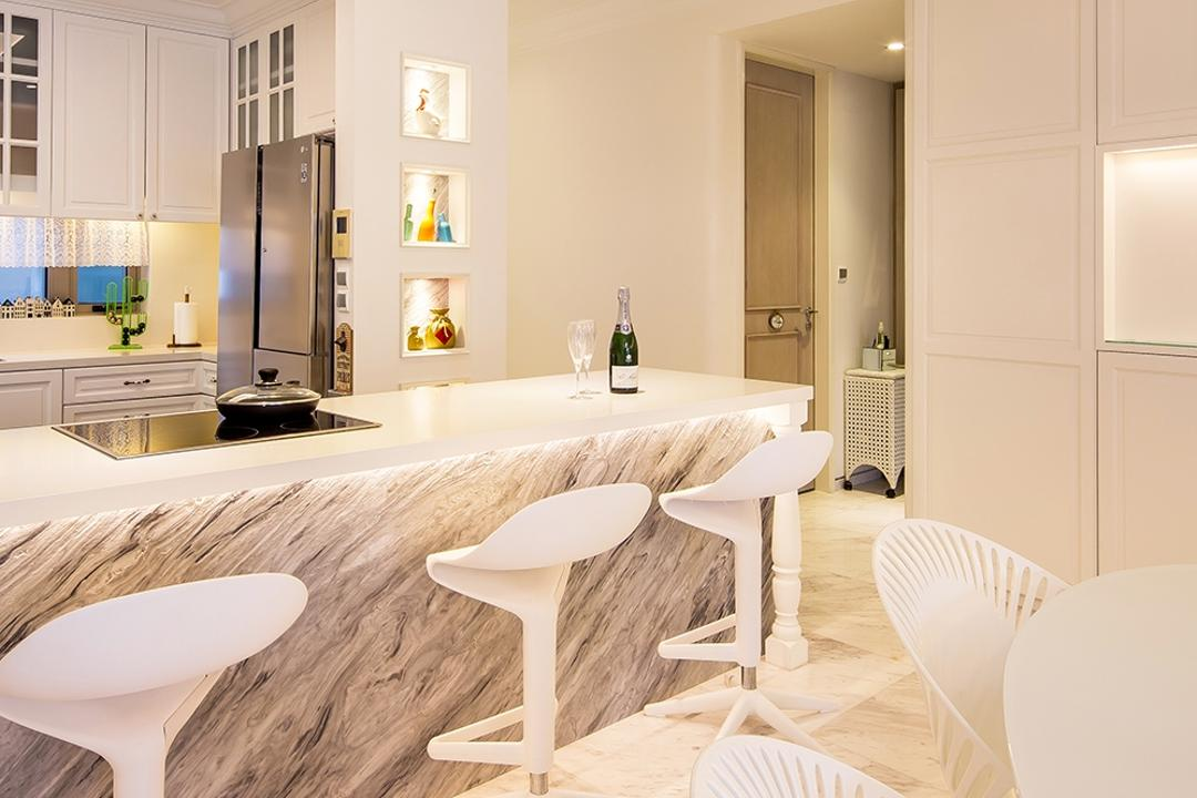 Sentosa Cove, Icon Interior Design, Vintage, Kitchen, Condo, Marble Counter, Marble Flooring, Rich, Luxe, Elegant, Sophisticated, Bar Stools, White, Cream, Neutrals, Open Concept, Open Layout, Chair, Furniture, Dining Table, Table, Indoors, Interior Design