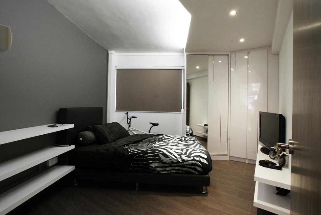 Modern, HDB, Bedroom, Hougang, Interior Designer, Metamorph Design, Shelf, Shelves, Blinds, Concealed Lighting, False Ceiling, Parquet, Tv Console, Mirror, Full Length Mirror, Closet, Wardrobe, Laminate