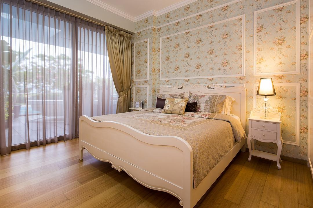 Sentosa Cove, Icon Interior Design, Vintage, Bedroom, Condo, Wainscoting Panels, Bedside Lamp, Bedside Table, Old English, French, Wallpaper, Wallpaper Motifs, Curtains, Bedframe, White, Cream, Neutrals, Rose, Feminine, Bed, Furniture, Indoors, Interior Design, Room