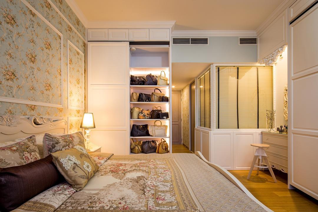 Sentosa Cove, Icon Interior Design, Vintage, Bedroom, Condo, Blinds, Bags Display, Bag Storage, Wardrobe, Cabinet, Cupboard, Cream, French Furniture, Feminine, Indoors, Interior Design, Room