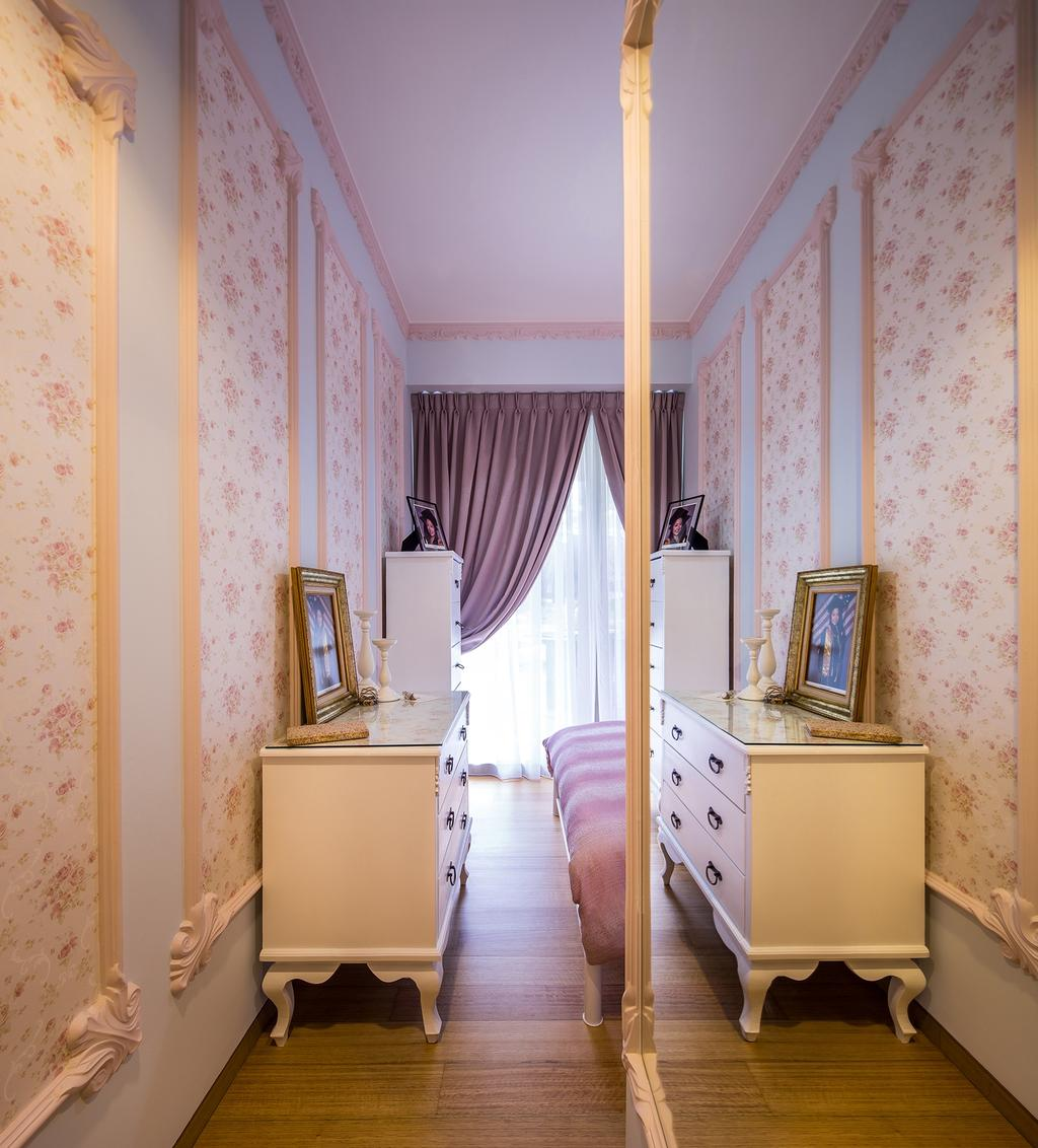 Vintage, Condo, Bedroom, Sentosa Cove, Interior Designer, Icon Interior Design, Motifs, Old English, French Inspired, Wallpaper, Trimmings, Wainscoting Panels, Wall Mirror, Floral, Feminine, Drawer Chest, Indoors, Interior Design, Room