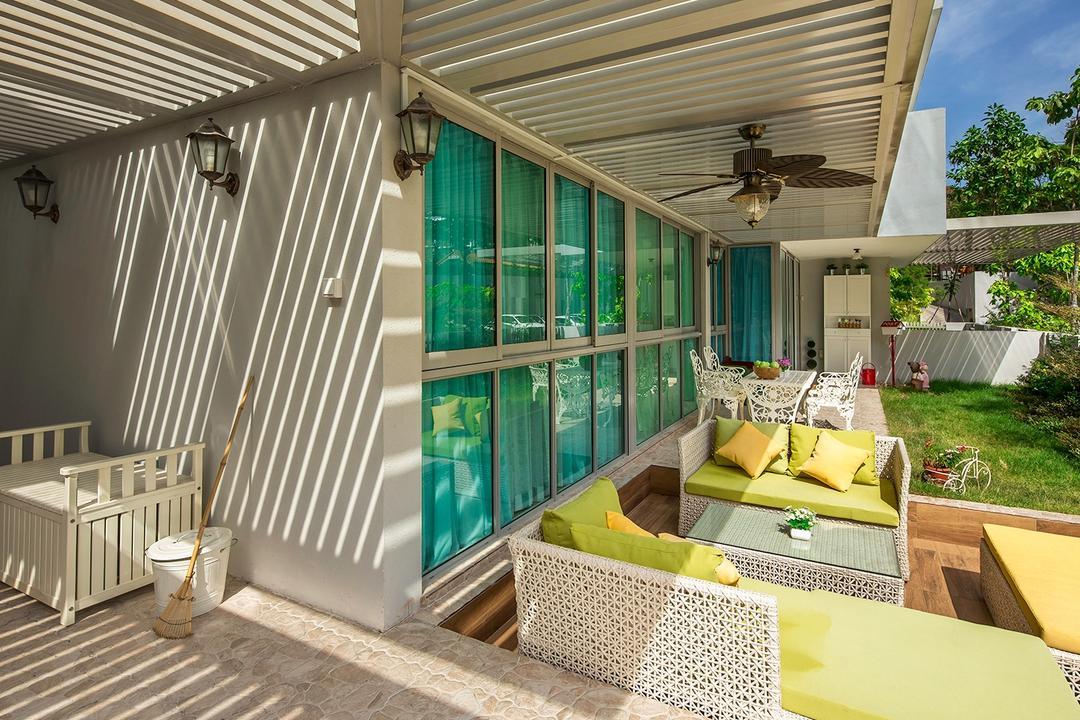 The Minton, Icon Interior Design, Vintage, Garden, Condo, Trellis, Outdoor Furniture, Daybed, Lounge, Cushioned Seats, Sliding Door, Balcony Fan, Wall Sconce, Porch