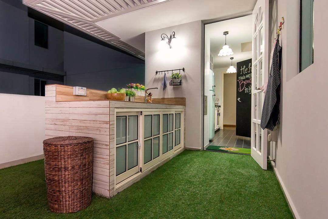 The Minton, Icon Interior Design, Vintage, Kitchen, Condo, Carpet Grass, Kitchen Island, Trellis, Outdoor Dining, Outdoor Counter, Kitchen Counter, Basket, Apron