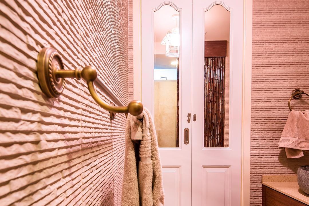 The Minton, Icon Interior Design, Vintage, Bathroom, Condo, Textured Wall, Towel Rack, Antique Towel Rack, Rough Texture, European Door, Dim, Indoors, Interior Design