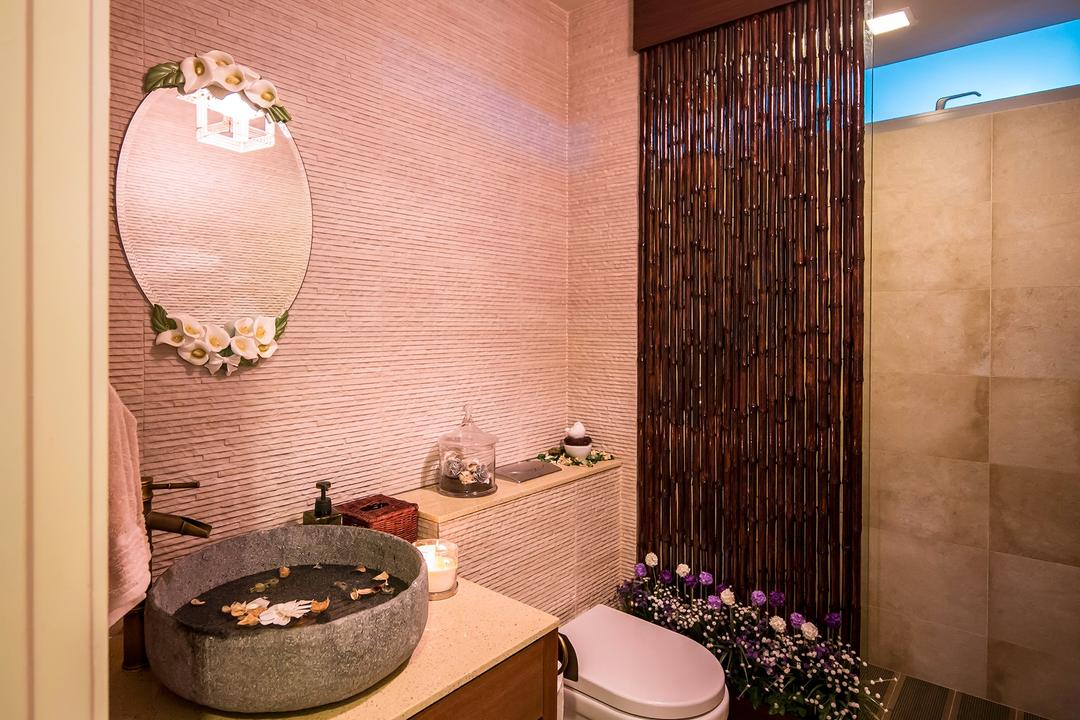 The Minton, Icon Interior Design, Vintage, Bathroom, Condo, Spa, Stone Bowl, Aromatherapy, Sink, Round Mirror, Nature Shower, Flora, Jar, Plant, Potted Plant, Pottery, Vase
