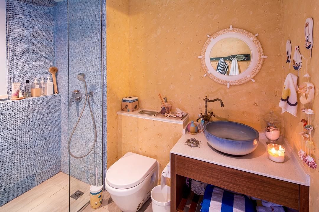 The Minton, Icon Interior Design, Vintage, Bathroom, Condo, Nautical, Round Mirror, Lodge, Blue Wall, Orange Wall, Shower Screen, Indoors, Interior Design, Room, Toilet, HDB, Building, Housing