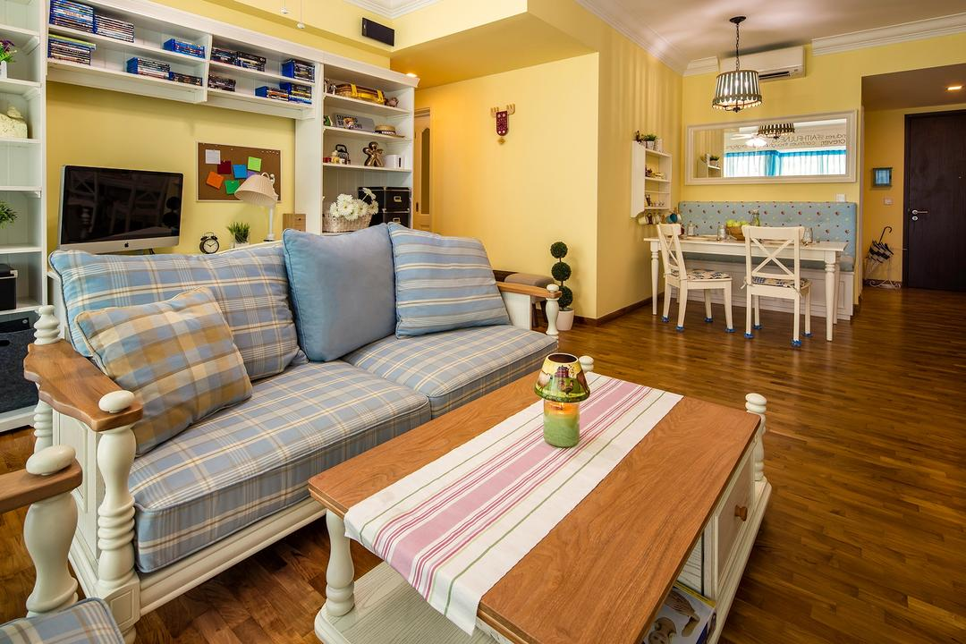 The Minton, Icon Interior Design, Vintage, Living Room, Condo, Table Runner, Yellow Walls, Coffee Table, Lodge, Resort, Cottage, Country Decor, Gingham Sofa, Old English, Wall Shelf, Couch, Furniture, Table