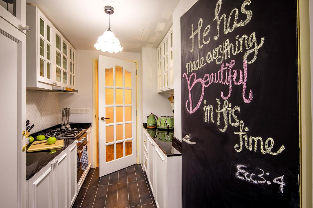 The Minton, Icon Interior Design, Vintage, Kitchen, Condo, Chalk Wall, Chalkboard Wall, European, Europe, Wainscoting, Old English, Cottage, Countryside, Country Decor, Counter Top, Monochrome, White Chandelier, Hanging Lights, Black Countertop, Blackboard, Appliance, Electrical Device, Oven