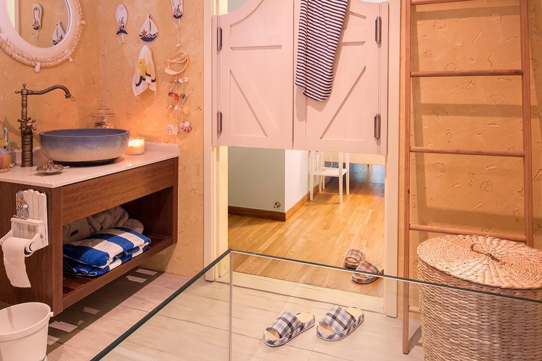 The Minton, Icon Interior Design, Vintage, Bathroom, Condo, Rustic Farmhouse Style, Shutters, Swing Door, Sunk In Bathtub, Laundry Basket, Towel Rack Ladder, Toilet