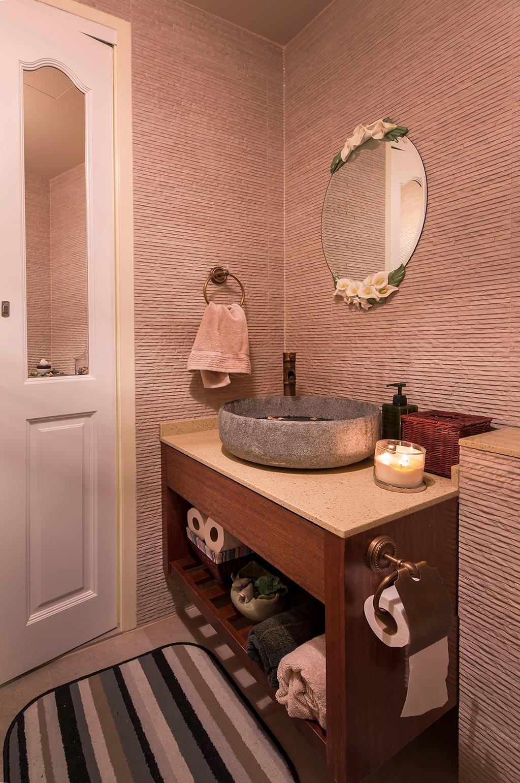 Vintage, Condo, Bathroom, The Minton, Interior Designer, Icon Interior Design, Round Mirror, European Door, Lodge, Stone Bowl, Resort, Tiles, Florals, Flowers, Candle, Indoors, Interior Design