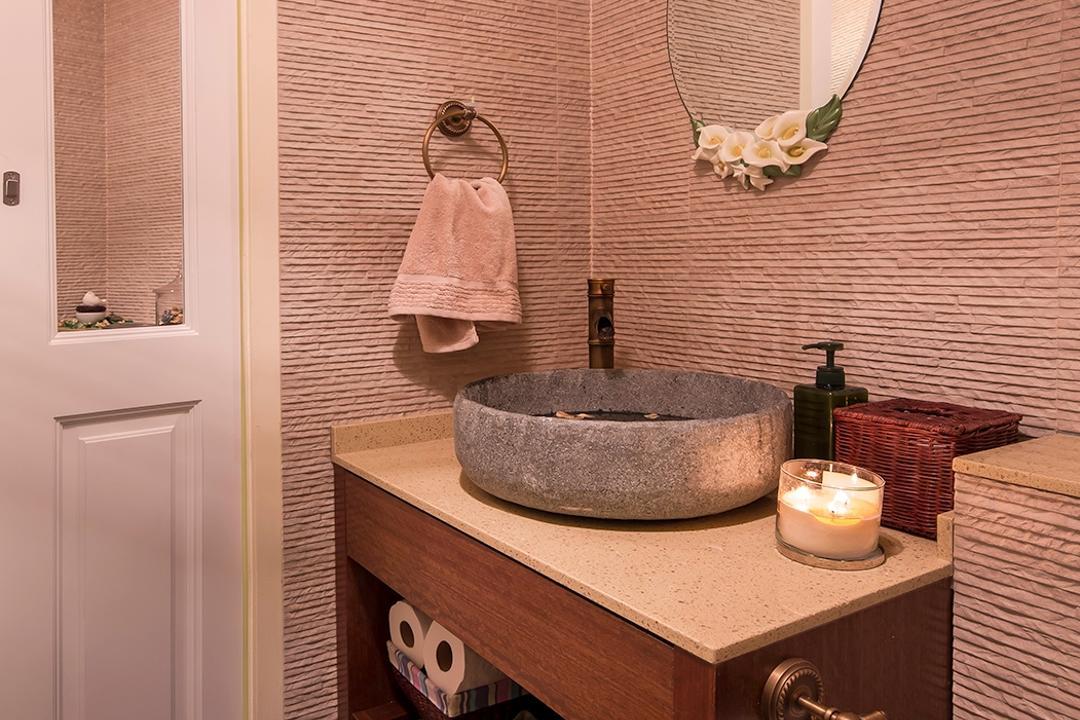 The Minton, Icon Interior Design, Vintage, Bathroom, Condo, Round Mirror, European Door, Lodge, Stone Bowl, Resort, Tiles, Florals, Flowers, Candle, Indoors, Interior Design