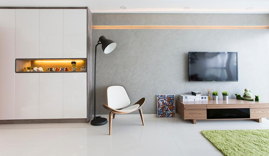 Scandinavian, HDB, Living Room, Punggol Ripples (Block 211A), Interior Designer, Icon Interior Design, Airy, Bright, Area Rug, Cabinet, Floor Lamp, Armchair, Tv Console, Grey Wall, Simple, Tiles, Furniture, Sideboard, Indoors, Interior Design