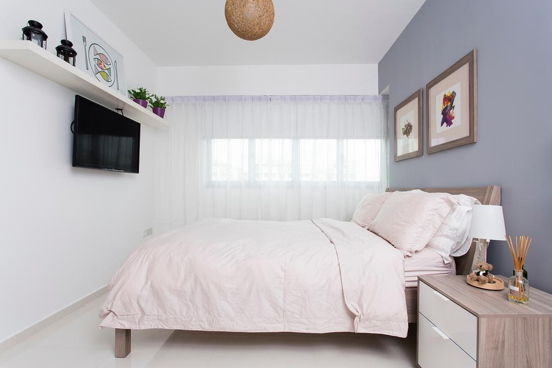 Punggol Ripples (Block 211A), Icon Interior Design, Scandinavian, Bedroom, HDB, Simple, Basic, Plain, Airy, White, Neutrals, Bedside Cabinet, Grey, Gray, Cool Grey, Grey Wall, Ledge, Display, Storage, Tv Mount, Molding, Bed, Furniture, Indoors, Interior Design, Room