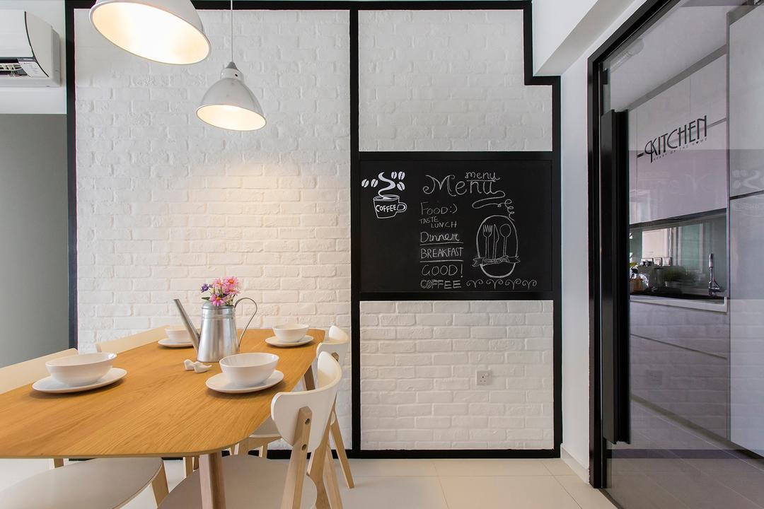 Punggol Ripples (Block 211A), Icon Interior Design, Scandinavian, Dining Room, HDB, Brick Wall, Wooden Table, Pencil Legs, White Bricks, Cream Bricks, Chalkboard Wall, Chalk Wall, Doodle, Blackboard, Sink, Dining Table, Furniture, Table, Indoors, Interior Design, Room