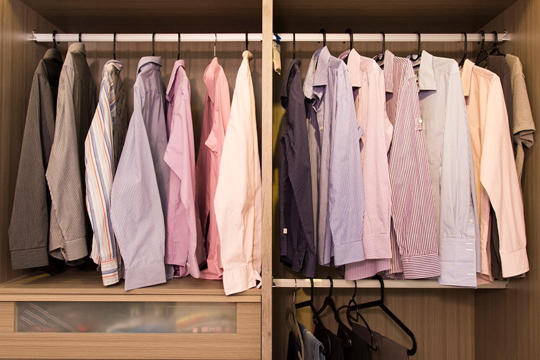 Punggol Ripples (Block 211A), Icon Interior Design, Scandinavian, Bedroom, HDB, Wardrobe, Modular, No Doors, Rack, Storage, Clothes, Hang, Drawer, Walk In Wardrobe, Closet